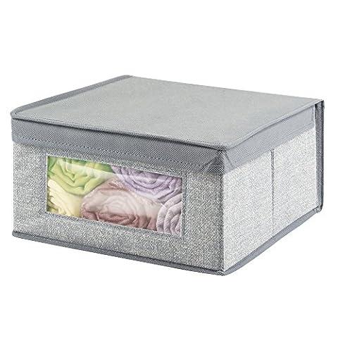 mDesign panier de rangement en tissu, moyen – grand bac de stockage, idéal pour stocker les vêtements et comme organiseur de penderie – housse de rangement avec couvercle pratique – couleur : gris