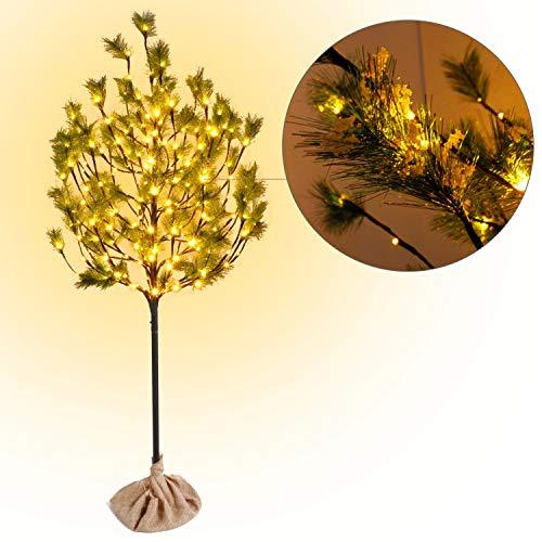 CCLIFE LED Kiefern Baum innen Außen Weihnachten Christbaum Lichterbaum warmweiss Kaltweiß Weihnachtsbeleuchtung, Farbe:Warmweiß, Größe:180cm mit 160LEDs