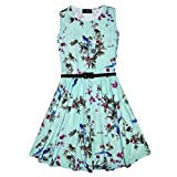 Girls Skater Dress Kids Floral Mint Abstract Belted Summer Party Dance Dresses Age 7 8 9 10 11 12 13 Years