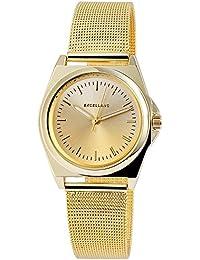 Excellanc llanc Mujer Reloj con acero inoxidable Malla de banda color oro elegante moderna Mujer Reloj De Pulsera
