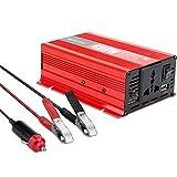 Spannungswandler DC 12V auf AC 230V, 400W Auto Wechselrichter, Inverter mit 1 USB Anschluss, Euro Steckdose/UK Steckdose, Autoladegerät Inklusive Kfz Zigarettenanzünder Stecker/Batterieclip (400W)