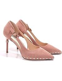 Xue Qiqi zapatos de tacón alto las mujeres con luz de satén fino-beige solo zapatos, Wild Water taladrar expuestos...