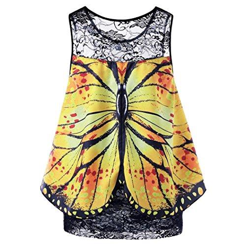 SEWORLD Damen Sommer Mode Frauen Schmetterlings Drucken Spitze Ärmellose Bluse Spitze Weste Top...