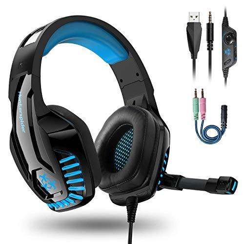 PS4 Headset, PC Gaming Kopfhörer auch für Xbox One & Nintendo Switch & Laptop, 3.5mm Noise Cancelling Gaming Kopfhörer mit Mikrofon, Bass Surround, mit Rauschunterdrückungsmikrofon, LED Licht (Blau) 3,5-mm-kopfhörer-mikrofon