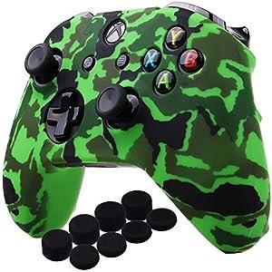 YoRHa Wassertransferdruck Silikon Hülle Abdeckungs Haut Kasten für Microsoft Xbox One X & Xbox One S controllerx 1 (Grün) Mit PRO aufsätze thumb grips x 8