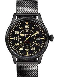 Gigandet Automatik Herren-Armbanduhr Red Baron I Fliegeruhr Uhr Edelstahlarmband Schwarz Beige G8-011