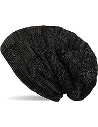 styleBREAKER warme Feinstrick Checked Beanie Mütze mit Flecht Muster uns sehr weichem Fleece Innenfutter, Unisex 04024090
