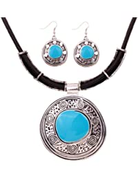 Yazilind PU Leather Chain Tibetan Silver Round Turquoise Pendant Bib Necklace Earrings Set