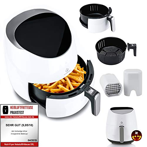 NUTRI-FRYER 2.0 Heißluftfritteuse XXL 🔥2000W Power Airfryer 4.5L Groß | Cool Touch, Filter, Digital, Timer | Krosse Pommes Fritteuse ohne Fett & Öl | Pizzablech + Backform & Rezepte