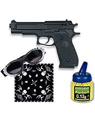 Pack Pistola airsoft HFC negra, ligera. Calibre 6mm. Potencia 0,5 Julios + Gafas antivaho + Biberon 1000 bolas