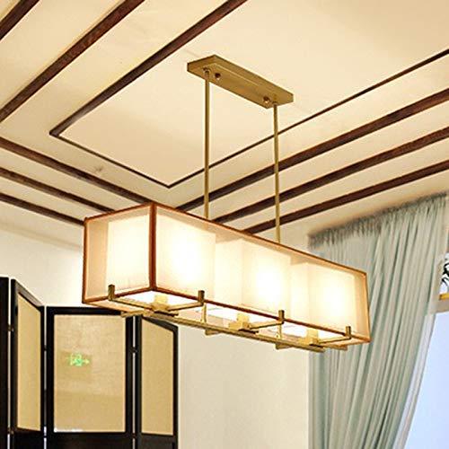 BAIJJ Chinesische dreiköpfige rechteckige Restaurant Kronleuchter 3 Wohnzimmer Lichter kreative Magnolie Stoff antiken chinesischen Stil (Größe: Gold) Gold Magnolia