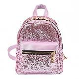 Amlaiworld Bolsos mochila de mujer niñas mochila de viaje Bolso de lentejuelas para mujer Bolso de escuela de mujer (Rosa, 16cm*10cm*20cm)