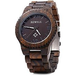 GBlife Bewell ZS - W065A Mens Quartz Wooden Watch Roman Numeral Scales (Ebony)