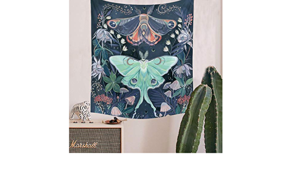 Floral Moon Black Tapestry Hangings Wall Tapestries Witchcraft Butterfuly F7X9