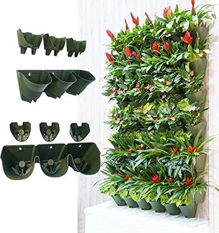 Selbstbewässernde senkrechte Garteneinpflanzer, Grünende Wand Blumentopf, hängende Pflanzentöpfe mit 3-Taschen und 3 Stück Filterlagen, perfekt für Innen und Außen-Dekor oder Pflanzenwuchs