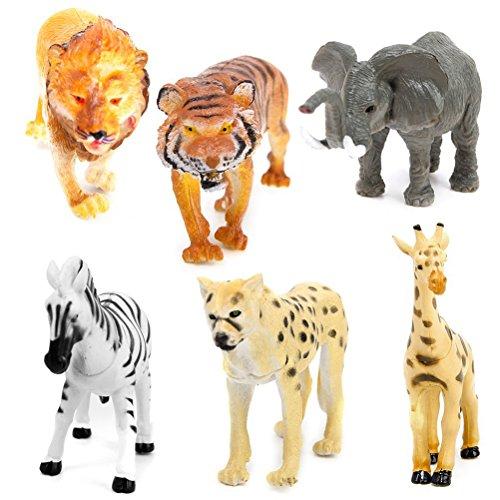 6 Stück Kunststoff Wild Tiere Spielzeug Modell