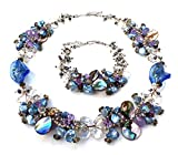 Color de la perla de agua dulce, de cristal de Murano, madre de perla, piedra lunar y cristal Collar Pulsera Conjunto Cluster