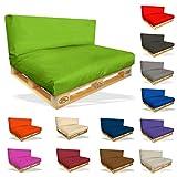 Palettenkissen 2er Set - Sitzpolster 120x80x15cm + Rückenkissen 120x40x10cm Farbe Hellgrün - in & Outdoor - Palettenpolster - Paletten Rattanmöbel Polster