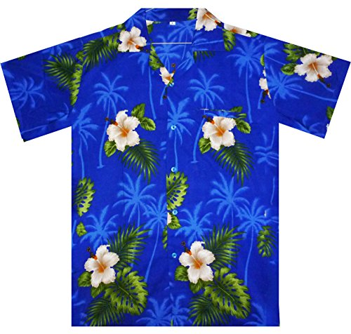 Funky Hawaiihemd, Small Flower, blau, L (Blumen-hawaii-shirt)