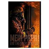 FIRE & FIGHT Streetwear Feuerwehr Kinder Poster Mein Papa Wandbild Hochformat 70 x 100 cm