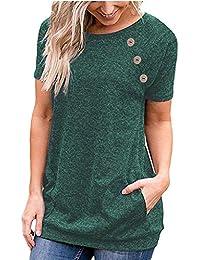 MEIbax Maglietta Donna con Bottoni Manica Corta Top Tumblr Elegante Maglietta Donne Pullover Elegante Tops T-Shirt Estate Felpe Ragazza Casual Camicia