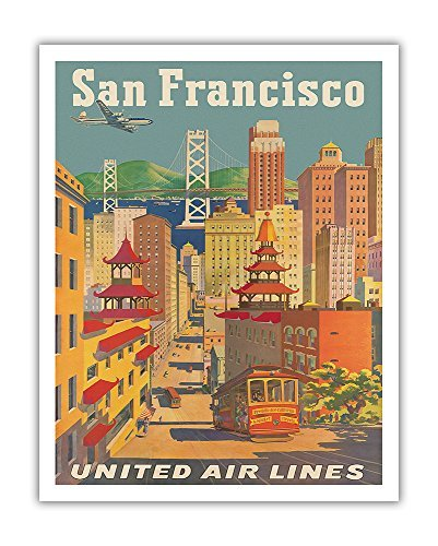 Pacifica Island Art San Francisco, Kalifornien - United Air Lines - Seilbahn in Chinatown - Vintage Airline Travel Poster von Joseph Fehér c.1950s - Kunstdruck 11