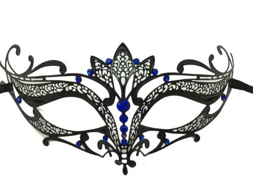 Black Majestic Metal Laser Cut Venetian Mardi Gras Masquerade Mask with Blue Diamond by Bob Mackie
