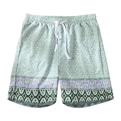 Dasongff Strandhosen Herren Boho Shorts Badehose Capri Thai Hose Laufhose Drucken Sommerhose Surfen Hose Locker Casual Stoffhose Kurz Surfenhose mit Tunnelzug - Gelb Floral Capri-hosen
