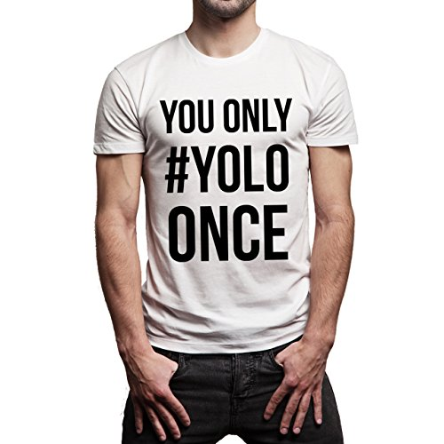 YOLO Swag Black And White You Only YOLO Once No Back Herren T-Shirt Weiß