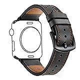 Uhrenarmbänder ZEIGER Leder Armband Uhrarmband Schwarz Edelstahl Faltschließe Uhr Armband 42mm Uhren Band für iWatch 1 2 3 Apple Watch B030BLA