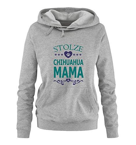 Comedy Shirts - Stolze Chihuahua Mama - Herz - Damen Hoodie - Grau/Türkis-Lila Gr. S - Land Check Shirt