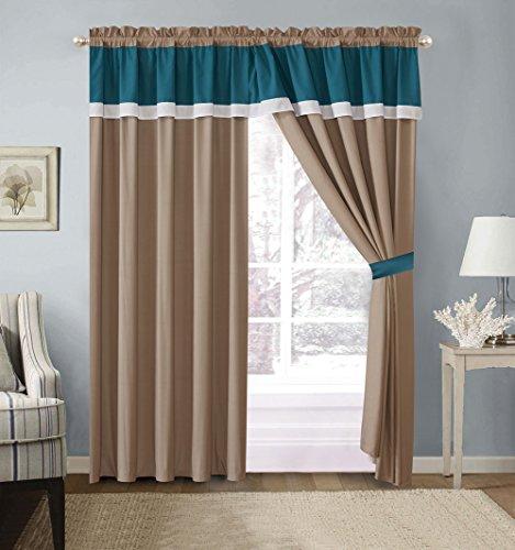 7-Teiliges Oversize Grau/Schwarz/Weiß Color Block Emma Tröster Set Betten Modern Curtains Blaugrün (Tröster Set Schwarz Und Grau)