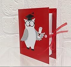 Idea Regalo - 20 PZ Libro Laurea portaconfetti GUFO GUFETTO con tocco BOMBONIERA
