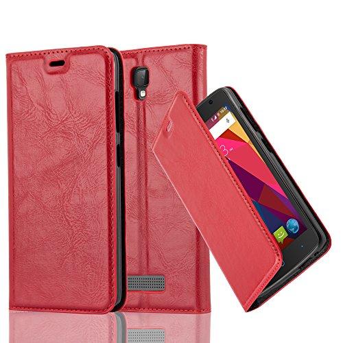 Cadorabo Hülle für ZTE Blade L5 - Hülle in Apfel ROT – Handyhülle mit Magnetverschluss, Standfunktion und Kartenfach - Case Cover Schutzhülle Etui Tasche Book Klapp Style