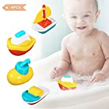 FUNTOK Juguetes para el baño Tina de baño Barcos flotantes Juguetes para nadar Juego de bañera flotante para bebés