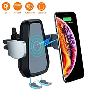 VANMASS Car Wireless Charger, Auto Clamping Qi Car Charger,10W 7.5W Fast Charging Phone Holder Air Vent Cradle Mount Motorized Compatible with Samsung S9 S9+ S8, iPhone X Xs Xr, Blackview BV9500