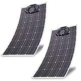Blackpoolal 2 x 100W Watt Solarmodul Solarpanel Solarzelle Monokristallin Solar Panel Flexibel Solarladegerät für Auto Boot RV Traktor Motorrad Automobil Wohnmobil 12V Batterien