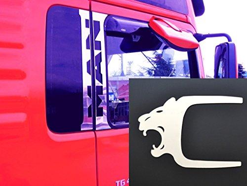 6x Edelstahl Türfensterdekoration + Türgriff Löwe Abdeckungen für TGA TGX LKW (Lkw Lowes)