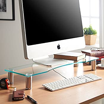 VonHaus Large Monitor Stand for Desks | Height Adjustable | Screen Riser for Computers, Laptops & TVs | Clear Curved Glass With Aluminium Legs | 70 x 24cm