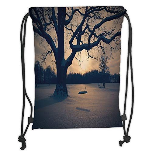 LULUZXOA Gym Bag Printed Drawstring Sack Backpacks Bags,Tree of Life,Majestic Tree in The Garden with A Swing Nostalgic Dramatic Winter Scenery Decorative,Tan Blue Grey Soft Satin -