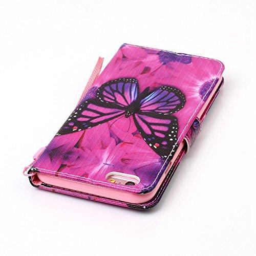 PU Cuir Coque Strass Case Etui Coque étui de portefeuille protection Coque Case Cas Cuir Swag Pour Apple iPhone 6 Plus (5.5 pouces)+Bouchons de poussière (7OO)