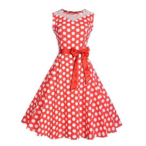 Epig Damen Kleid, Frauen Retro Sleeveless Oansatz Polka Dot Printing Mesh Patchwork Bowknot Party Prom Swing Dresses