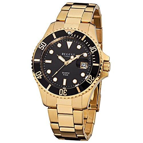 Regent Hombre de Acero Reloj de pulsera elegante Analog ionenplattiert Oro Pulsera de oro de cuarzo reloj urf370