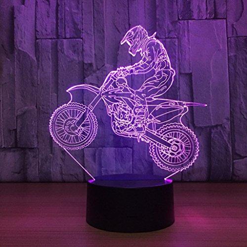 Zcxbhd 3D LED Night Lamp Colorful Moto Shape Magical Illusion Lampada Kids Room Decorazione Della Casa Miglior Regalo 7 Colori Cambia USB Powered Desk Lamps (Moto) (a Colori)