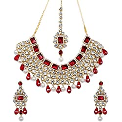 Cairo Party Wear Crystal Studded Choker Traditional Jewellery Necklace Set with Maang Tikka and Earrings for Girls and Women