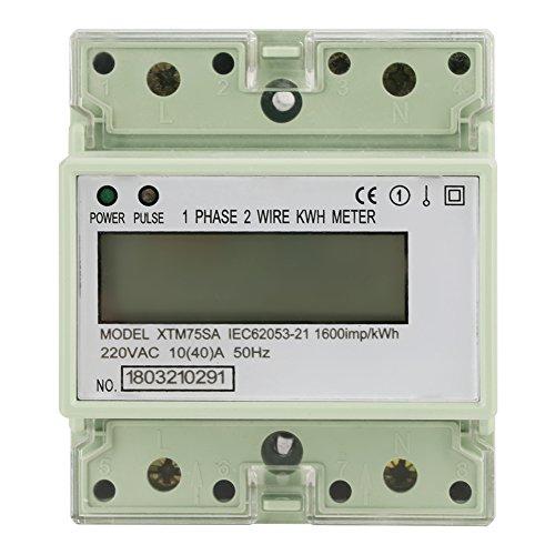 220 V 10 (40) Ein DIN-Schiene Stromzähler, Digital 1 Phase Stromzähler 2 Draht 4 P, XTM75SA Stromzähler KWh Meter -