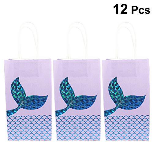 Toyvian Papier Geschenktüten Meerjungfrau Schwanz Süßigkeiten Tasche Cartoon Party Tasche für Kinder Geburtstagspartys Hochzeit Dekoration Gefälligkeiten (Blau) 12 stücke