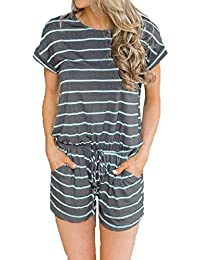 b7aed0e2ff Caracilia Women s Summer Short Sleeve Striped Jumpsuit Rompers with Pockets  Short Pant Rompers Playsuit