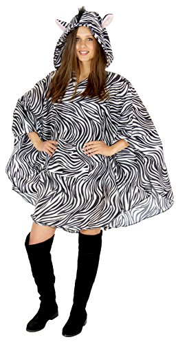 Foxxeo 40145 | Zebra Party Poncho für Erwachsene Karneval Fasching Party Regen Cape Umhang Tier