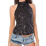 VICGREY ❤ Maglietta Donne Elegante Sexy Paillettes Canotta Camicia Alto Collo Gilet Top Donna Senza Maniche T-Shirt Estate Donne Tops Magliette delle Donne Elegante